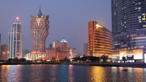 Macau Downtown skyline at night