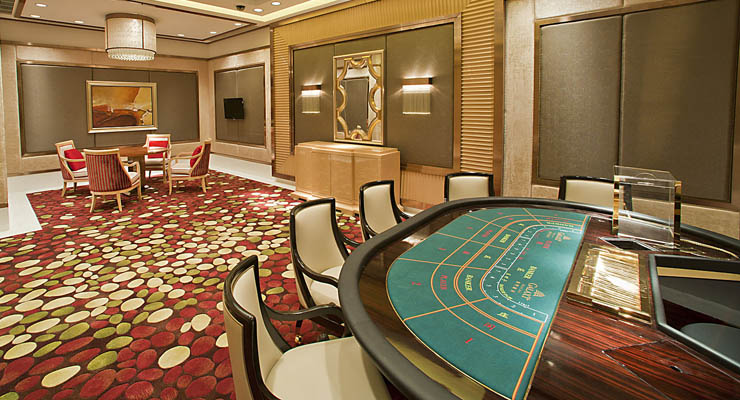 Baccarat table in a VIP room in Macau